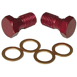 Ride Engineering Banjo Bolts - Red - Shindy Products Aluminum Double Banjo Bolt With Bleeder