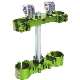 Ride Engineering Billet Clamp Set - 22mm Offset - Green - Applied R/S Triple Clamp Kit With Oversized Bar Mounts - 22.5mm Offset - Red