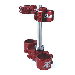 Ride Engineering Billet Clamp Set - 22mm Offset - Red - 2011 Suzuki RMZ250 Applied R/S Triple Clamp Kit With Oversized Bar Mounts - 21.5mm Offset - Silver