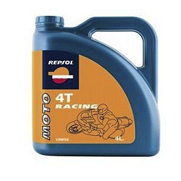 Repsol 10W50 Moto 4T Racing Full Synthetic Oil - 4 Liter - Yoshimura Oil Filler Plug - Red