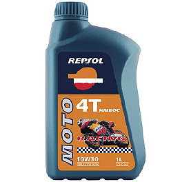 Repsol 10W30 Moto 4T Racing Hmeoc Full Synthetic Oil - 4 Liter - BikeMaster Aluminum Valve Caps