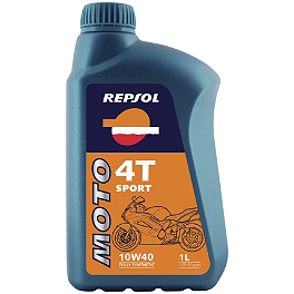 Repsol 10W40 Moto 4T Sport Synthetic Blend Oil - 1 Liter - Akrapovic Evolution Full System Exhaust - Titanium Single