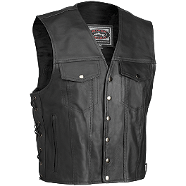 River Road Frontier Leather Vest - Power Trip Powerglide Leather Vest