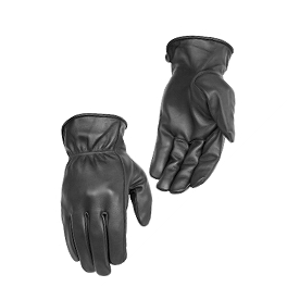 River Road Rally Leather Gloves - Power Trip Jet Black Gloves
