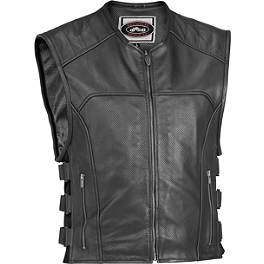 River Road Ruffian Leather Perforated Vest - Speed & Strength Tough As Nails Leather Vest