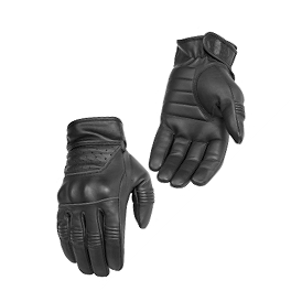 River Road Twin Iron Leather Gloves - Red Line Universal Funnel