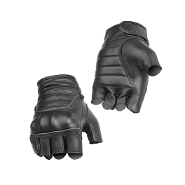 River Road Twin Iron Shorty Leather Gloves - Power Trip Vented Graphite Gloves