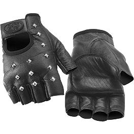 River Road Vegas Shorty Leather Gloves - Power Trip Vented Graphite Gloves