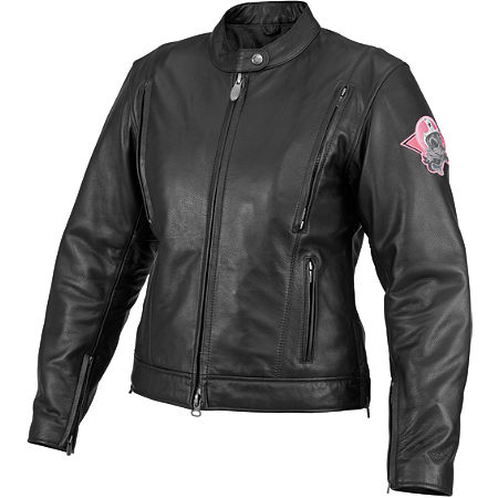 River Road Women's Biker Girl Skull Graphix Leather Jacket - Main