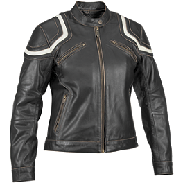River Road Women's Babe Vintage Leather Jacket - River Road Women's Biker Girl Skull Graphix Leather Jacket