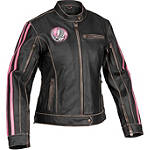 River Road Women's Grateful Dead Steal Your Face Jacket - Leather Motorcycle Riding Jackets