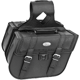 River Road Quest Series Rigid Zip Off Slant Saddlebags With Security Lock - River Road Mystic Leather/Mesh Gloves