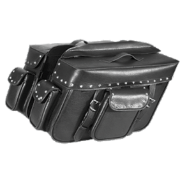 River Road Quantum Series Zip Off & Quick Release Extra Large Slant Saddlebags - River Road Rebel Leather Shirt