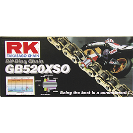 RK 520 GBXSO X-Ring Gold Race Chain - 120 Links - Vortex Rear Sprocket For Marchesini Wheels - Silver
