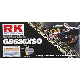 RK 525 GBXSO X-Ring Gold Race Chain - 120 Links - Vortex Sprocket & Chain Kit 525 - Silver