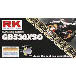 RK 530 GBXSO X-Ring Gold Race Chain - 120 Links - 1974 Suzuki GT750 - Le Mans Sunstar Steel Rear Sprocket 530