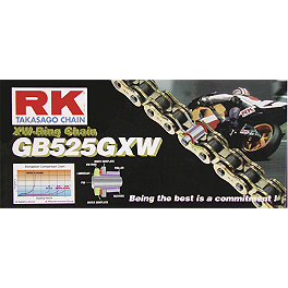 RK 525 GBGXW Series Gold Chain - 120 Links - RK Rivet Master Link 530 XSO