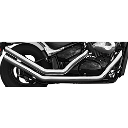 Rush Chrome Series Swept Full System Exhaust - Slash Tip - Vance & Hines Twin Slash Staggered Exhaust - Chrome