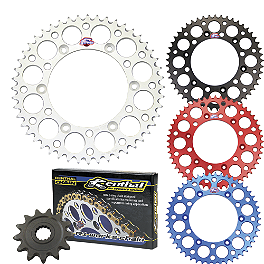 Renthal Chain & Sprocket Kit - 2008 Yamaha WR250F Leo Vince X3 Ti-Tech Enduro Full-System - Stainless/Titanium With Carbon Fiber End Cap