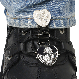 Ryder Clips Pant/Boot Clip - Chrome Heart & Skull - AXO Oxford Dryder Two-Piece Rain Suit