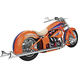 "Samson True Dual Crossover Full System With 3"" Rolled Edge Straight Cut Mufflers - 2008 Harley Davidson Heritage Softail Classic - FLSTC Samson True Dual Crossover Full System With Upsweep Longtail Mufflers"