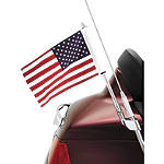 Show Chrome Antenna Mount Flag Pole With U.S. Flag - Cruiser Flag Pole Accessories