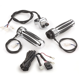 Show Chrome Comfort Heated Grips - Baron Extended Stainless Cable And Line Kit For 15