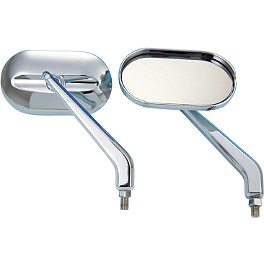 Show Chrome Oval Cruiser Mirrors - BikeMaster Old School Flame Mirrors