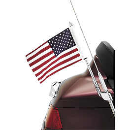 "Show Chrome Flag Pole Mount - 1/2"" - Show Chrome Raised License Plate Holder - Red Turn Signals"