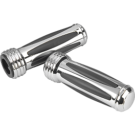 Show Chrome Comfort Raised Grips - 2003 Honda Shadow Spirit 1100 - VT1100C Arlen Ness Battistini Round Hole Grips - Chrome