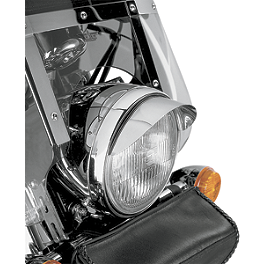 "Show Chrome Universal 7"" Headlight Visor - Show Chrome Mini Driving Light Kit - Elliptical"