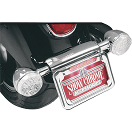 Show Chrome Raised License Plate Holder - Dual Function - Show Chrome Raised License Plate Holder - Red Turn Signals