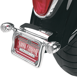 Show Chrome Raised License Plate Holder - Amber Turn Signals - 2003 Honda Shadow Spirit 1100 - VT1100C Show Chrome Brake Side LED Switch Block - Black