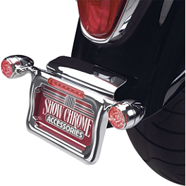 Show Chrome Raised License Plate Holder - Red Turn Signals - Show Chrome Arm Mount Driving Light Kit