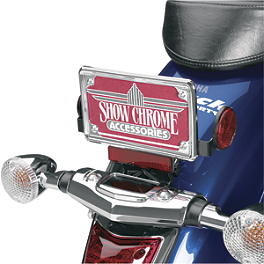 Show Chrome License Plate Trim - Contours - 2005 Yamaha V Star 1100 Custom - XVS11 Show Chrome Slider Brake Pedal - Flame