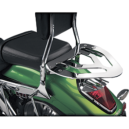 Show Chrome Sissy Bar Luggage Rack - 2006 Kawasaki Vulcan 900 Classic LT - VN900D Cobra Tube Solo Luggage Rack For OEM Backrest