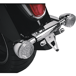 Show Chrome License Plate Relocation Bracket - 2007 Kawasaki Vulcan 2000 Classic LT - VN2000F Show Chrome Front LED Turn Signal Conversion Kit