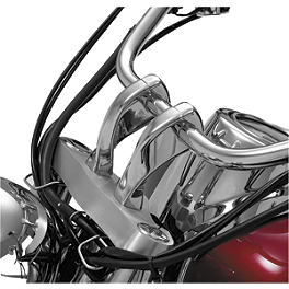 "Show Chrome 4"" Risers Without Bolts For 1"" Bars - Twisted - 2005 Yamaha V Star 650 Midnight Custom - XVS650M Show Chrome Slider Brake Pedal - Flame"