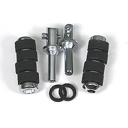 Show Chrome Rear Slider Peg System - Ride Soft - 2002 Honda VTX1800S Arlen Ness Battistini Round Rear Footpegs - Black