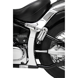 Show Chrome Vertical Swingarm Covers - 2006 Yamaha V Star 1100 Custom - XVS11 Show Chrome Slider Brake Pedal - Flame