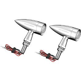 Show Chrome Torpedo LED Turn Signals - M8 - 2003 Yamaha V Star 1100 Custom - XVS1100 Show Chrome Slider Brake Pedal - Flame