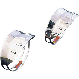 Show Chrome Face Mount Turn Signal Visors - 2006 Honda VTX1300C Show Chrome Front LED Turn Signal Conversion Kit