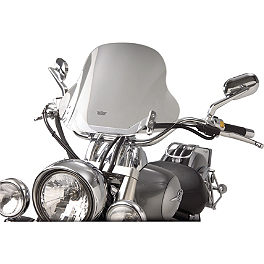 "Show Chrome E-Z Mount Cruiser Windshield For 1"" Bars - 2001 Kawasaki Vulcan 750 - VN750A National Cycle Flyscreen Windshield - Light Smoke"