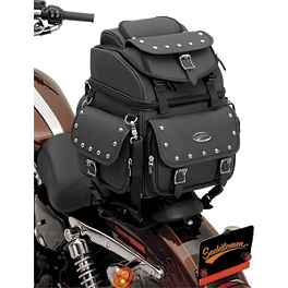 Saddlemen BR1800EXS Sissy Bar Bag With Studs - 1987 Kawasaki Voyager - ZG1300 Saddlemen Saddle Skins Seat Cover - Black