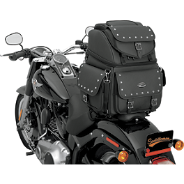 Saddlemen BR3400EXS Sissy Bar Bag With Studs - 2008 Honda VTX1300R Saddlemen Saddle Skins Seat Cover - Black
