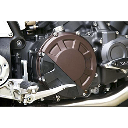 Sato Racing Clutch Cover Protector - Black - Akrapovic Slip-On EC Type Conical Exhaust - Titanium