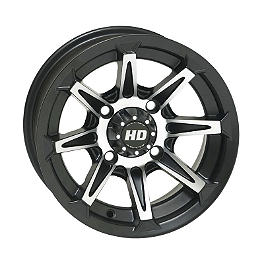 STI HD2 Front Wheel - 12X7 5+2 Black - 2004 Honda RANCHER 400 4X4 STI Slasher Complete Axle - Front Left/Right