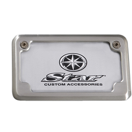 Yamaha Star Accessories Billet License Plate Frame - Brushed - Yamaha Star Accessories Rear Fender Chrome Metal Fender Tip