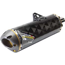 Two Brothers M-7 Complete Carbon Fiber Exhaust - 2008 Kawasaki KX450F Dr.D Complete Stainless Steel Exhaust With Spark Arrestor