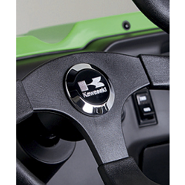 Kawasaki Genuine Accessories Steering Wheel Center Cap - Stacked Logo - Kawasaki Genuine Accessories Billet Shift Knob